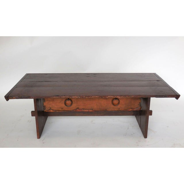 Rustic Coffee Table with Leather Bottom Drawer - Image 3 of 8