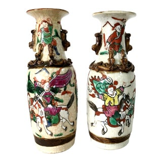 19th CenturyJapanese Warrior Crackle Ware Handpainted Vases, Signed - a Pair For Sale