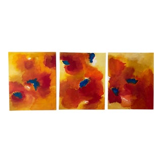 Summer Series Abstract Acrylic Painting Tryptic by Jennifer Hopkins-Wilcox For Sale