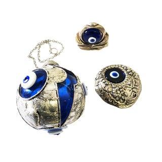 Decorative Turkish Blue Evil Eye & Silver - Set of 3 For Sale