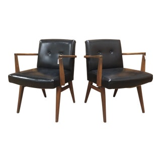 Mid Century Modern Walnut & Black Vinyl Chairs- A Pair For Sale
