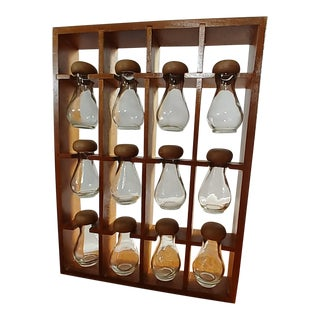 Mid-Century Wood Spice Rack With 12 Glass Bottles For Sale