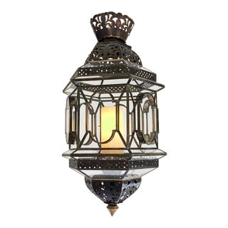 Moroccan Glass and Brass Candle Pendant Chandelier For Sale