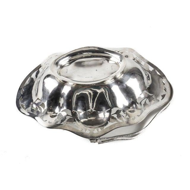 Gorham 1910 Antique Gorham Sterling Silver Brides Basket Pierced Armorial Crest #1166l For Sale - Image 4 of 9