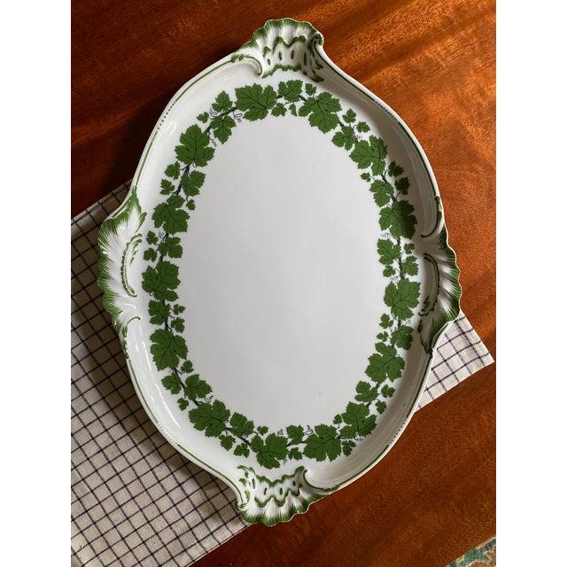 English Vintage 1950s Meissen Porcelain Grape Vine Scalloped Platter For Sale - Image 3 of 9