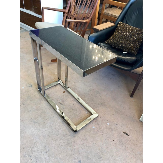 Contemporary Contemporary Black Granite and Chrome C Table For Sale - Image 3 of 9