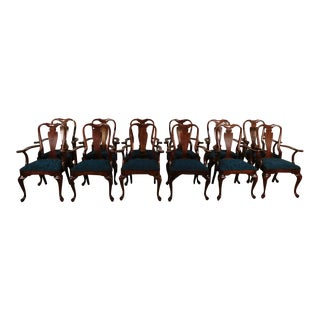 1960s Benchmade High Quality Cherry Queen Anne Arm Chairs- Set of 12 For Sale