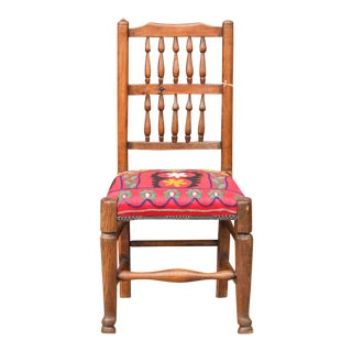 19th Century English Spindleback Suzani Chair For Sale