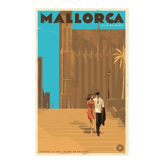 Danish Modern Travel Poster, Palma de Mallorca Cathedral For Sale