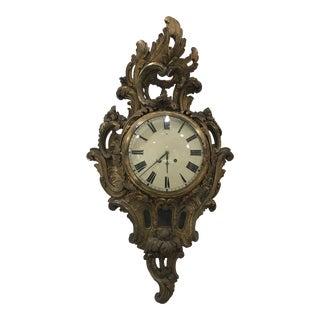 Swedish Oversized Wooden Cartel Clock For Sale