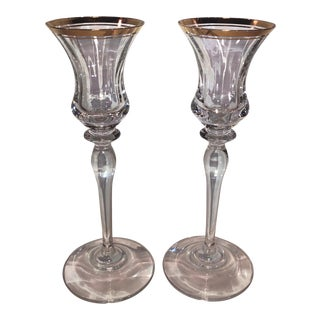 Vintage Mikasa Jamestown Clear Gold Trim Crystal Candle Holders - a Pair For Sale