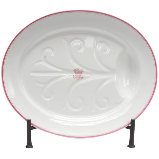 Mid 19th Century Late 19th Century Armorial China Platter For Sale - Image 5 of 5