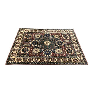 Handmade Traditional Kazak Wool Rug - 4′11″ × 6′7″