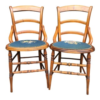 Needlepoint Seat Wooden Chairs - Set of 2 For Sale