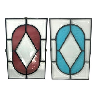 Late 19th Century Architectural Salvage Antique Beveled Stained Glass Window Panels - a Pair For Sale