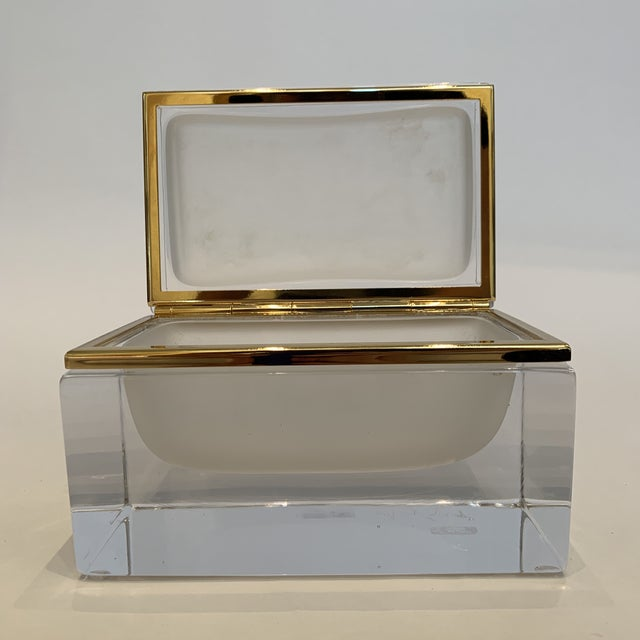 Glass 21st Century Murano White Crystal Jewel Box by Mandruzzato For Sale - Image 7 of 10