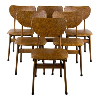Danish Modern Naugahyde Dining Chairs - Set of 6 For Sale
