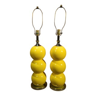 Mid-Century Modern Yellow Enamel & Chrome Stacked Ball Table Lamps - a Pair