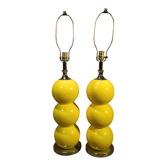 Mid-Century Modern Yellow Enamel & Chrome Stacked Ball Table Lamps - a Pair For Sale