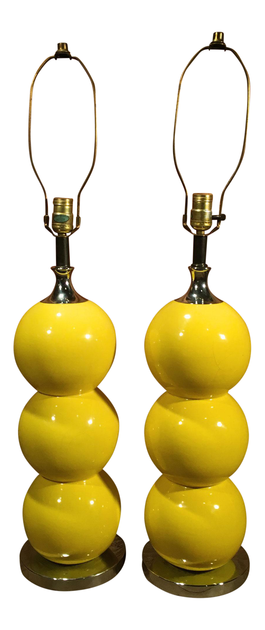 Mid Century Modern Yellow Enamel U0026 Chrome Stacked Ball Table Lamps   A Pair