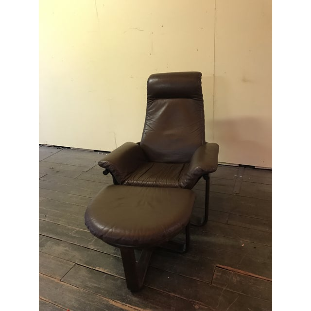"""Brown Westnofa """"Manta"""" Chair with Ottoman For Sale - Image 8 of 8"""