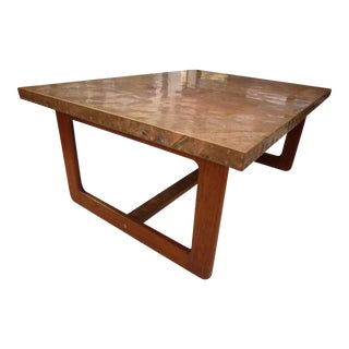 Mid-Century Modern Copper Top Coffee Table For Sale