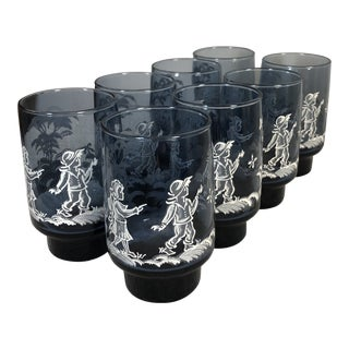 Vintage Libbey Mary Gregory Glasses - Set of 8 For Sale