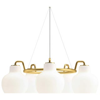 Vilhelm Lauritzen 5-Shade Brass and Glass Ring Chandelier for Louis Poulsen