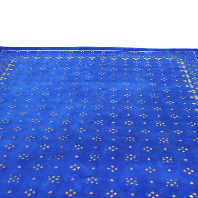 Contemporary Custom Blue & Gold Stark Area Rug- 8′ × 10′ For Sale - Image 3 of 13