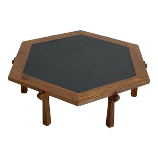Mid Century Oak and Faux Stone Hexagon Coffee Table by Oak Ranch For Sale