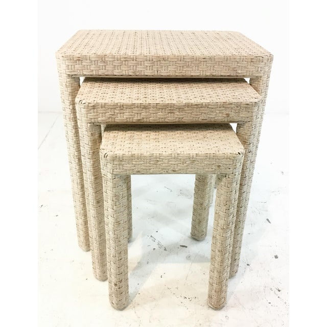 Made Goods Made Goods Transitional White Washed Rattan. Delphine Nesting Tables Set of Three For Sale - Image 4 of 4