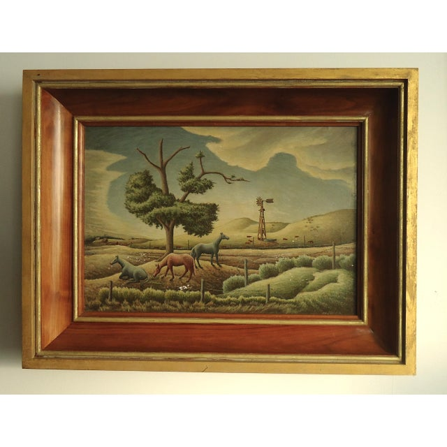 1952 Aaron Pyle Landscape With Horses Regionalist Painting For Sale - Image 11 of 11