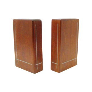 Vintage Kesa Denmark Teak Bookends With Inlaid Metal - a Pair For Sale