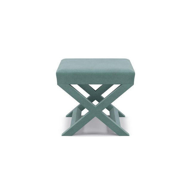 Not Yet Made - Made To Order X Bench in Aqua Velvet For Sale - Image 5 of 5