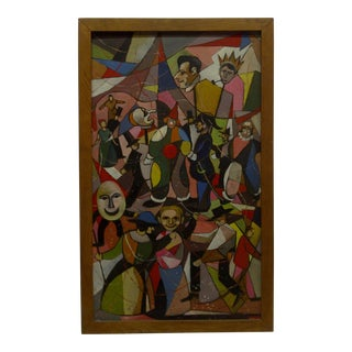 """1960s Cubist Framed Original Painting """"Carnival"""" by Scheuch"""