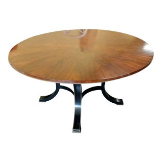Henredon Furniture Acquisitions Paris Yvon Black & Mahogany Round Dining Table For Sale