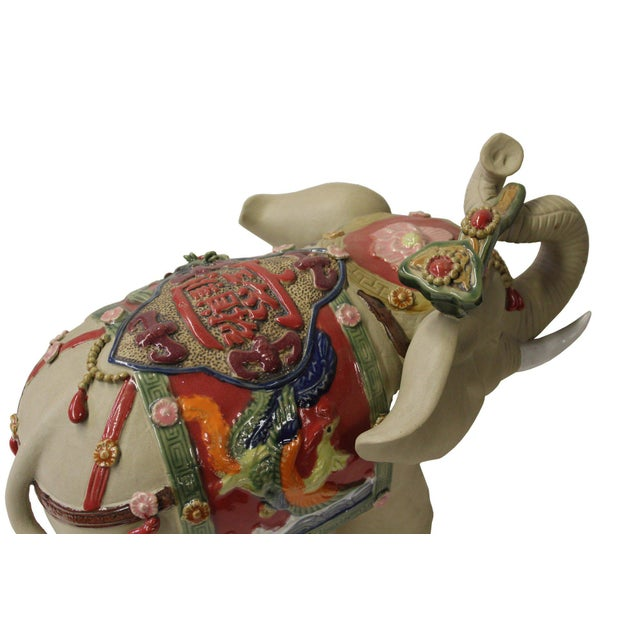 Asian Detail Handmade Ceramic Elephant Trunk Holding Ru Yi & Power Dragon Decor Back Rest For Sale In San Francisco - Image 6 of 7