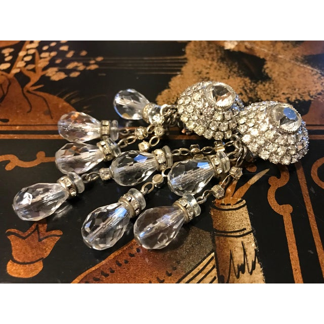 Mid-Century Modern 1960s William deLillo Crystal Chandelier Earrings For Sale - Image 3 of 6