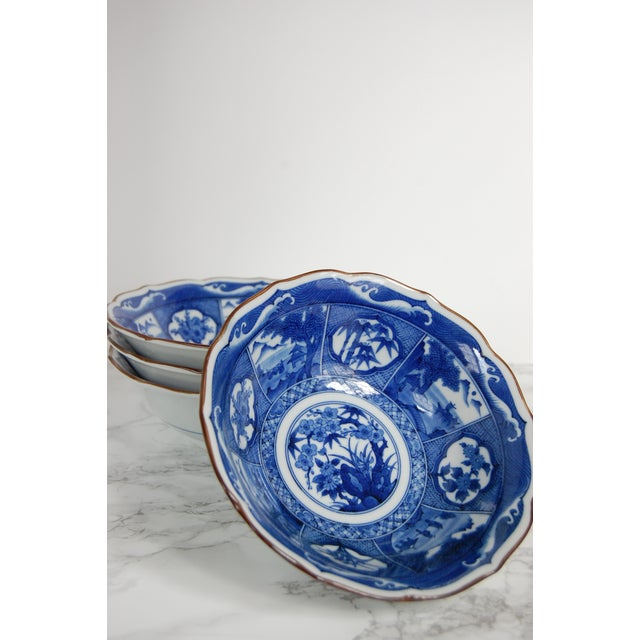 Blue & White Japanese Bowls - Set of 4 - Image 3 of 7