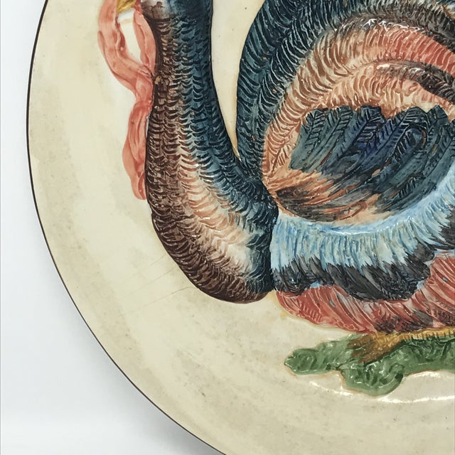 Thanksgiving Decor Spanish Traditional Hand Painted Majolica Turkey Concave Decorative Plate For Sale - Image 10 of 12
