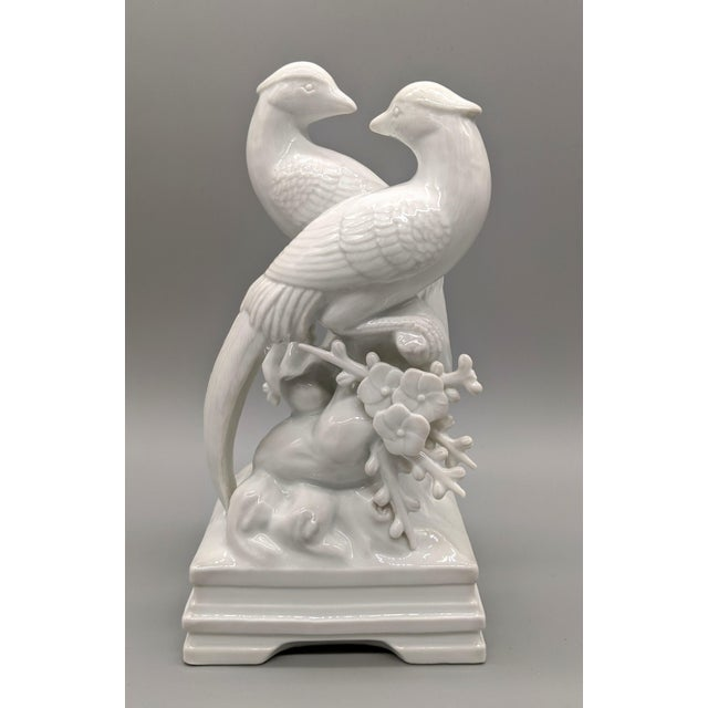 1970s Blanc De Chine Fitz & Floyd Birds and Flowers Figurine For Sale - Image 10 of 10