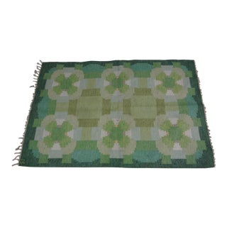 "Swedish Flat Weave Rug - 4'5"" X 6'6"" For Sale"