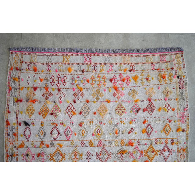 "Antique Anatolian Braided Rug Hand Woven Cotton Small Rug Sofreh - 4' X 4'3"" For Sale In Raleigh - Image 6 of 10"