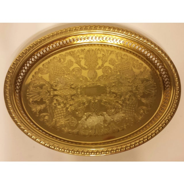 Solid Brass Pierced Gallery Oval Tray - Image 3 of 6