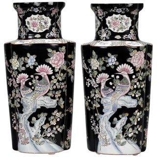Black and White Chinese Porcelain Vases - A Pair For Sale