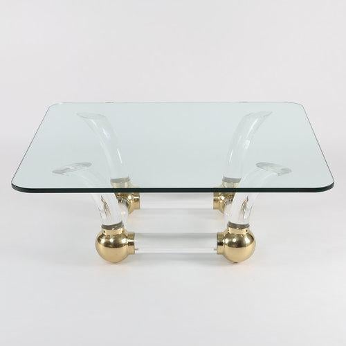 Brass 1970S SABRE-LEG LUCITE, BRASS AND GLASS COFFEE TABLE For Sale - Image 7 of 10