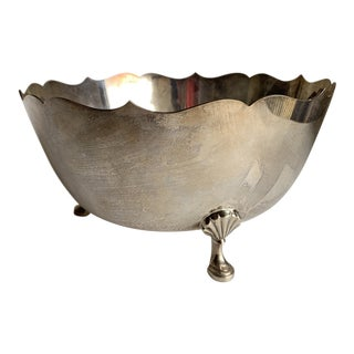 Classic Elegant Silver Footed Decor Bowl For Sale