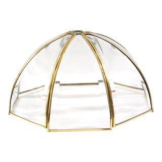 Brass Frame Glass Lamp Shade For Sale