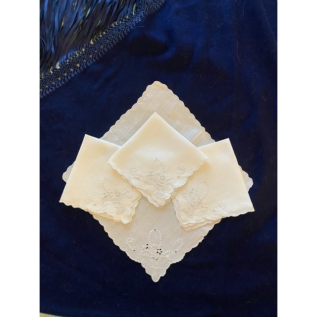 Antique White Linen and Basket Embroidered Cocktail Napkins, Set/4 For Sale - Image 4 of 4