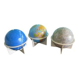 Mid-Century Modern Replogle Globes- Set of 3 For Sale